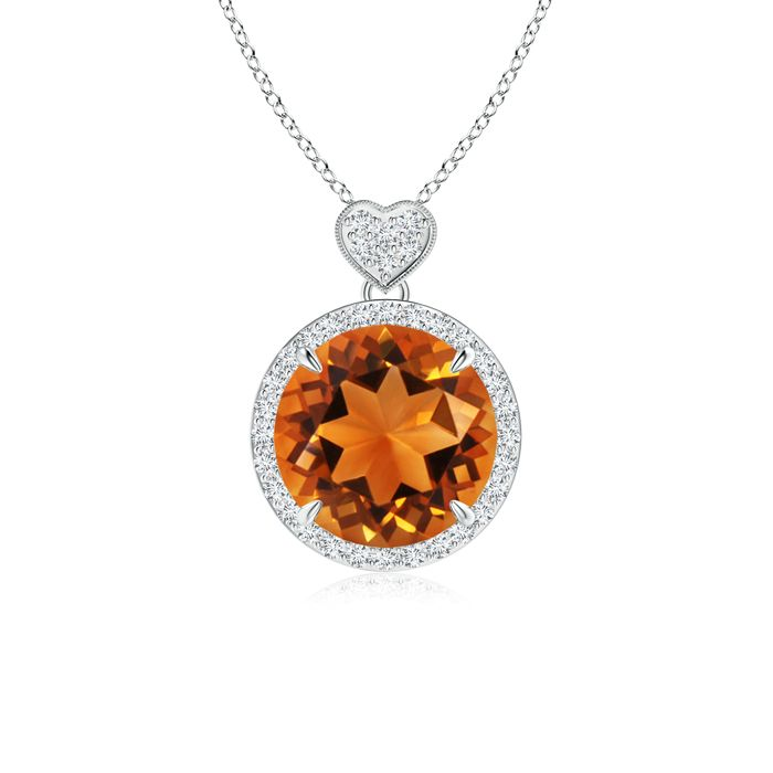 Angara Diamond Halo Citrine Drop Pendant White Gold