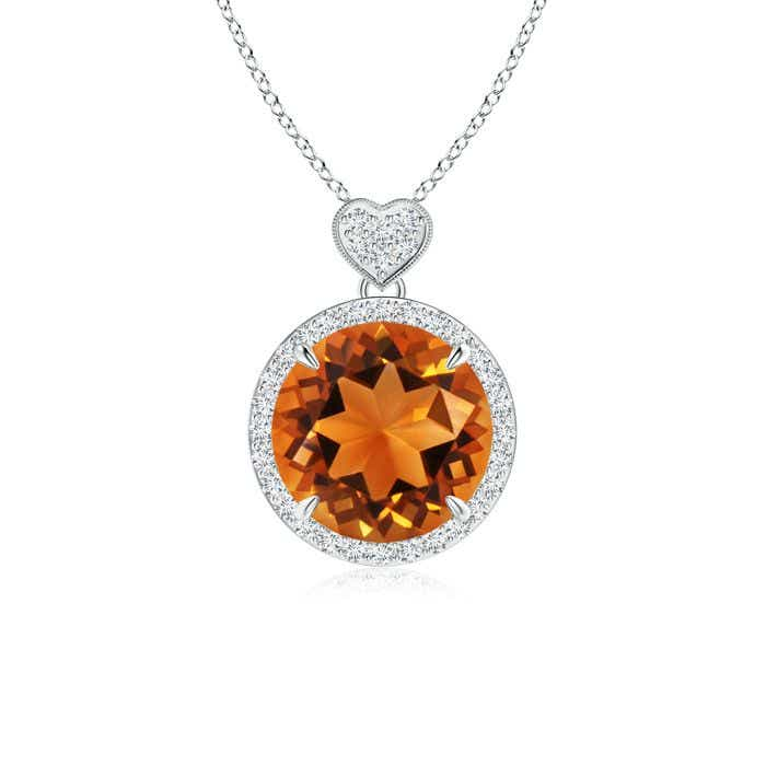 Angara Diamond Halo Citrine Drop Pendant in White Gold WswBX2a