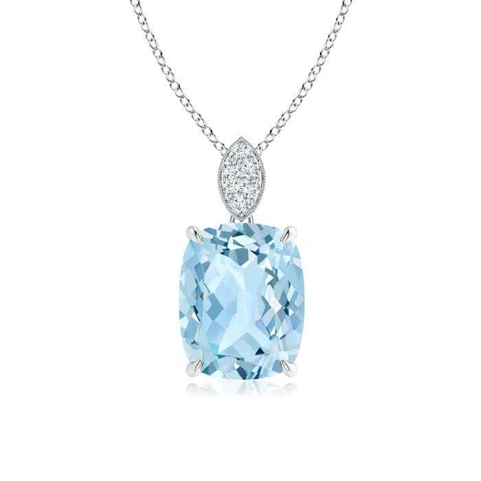 Cushion aquamarine pendant with diamond leaf bale angara 18 inches 14k white gold chain comes free with pendant mozeypictures Choice Image
