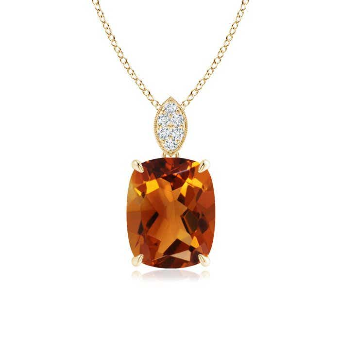 Angara Cushion Morganite Pendant with Diamond Leaf Bale N5SVwR