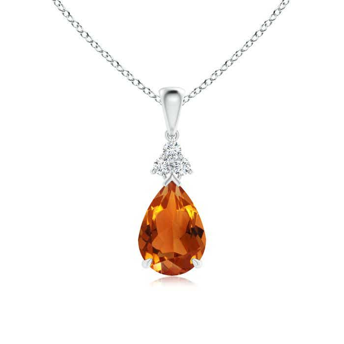Angara Citrine and Diamond Pendant in Yellow Gold uXPS4P8V