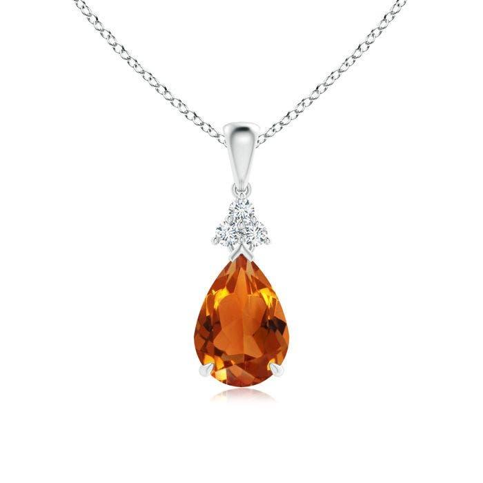 Angara Citrine and Diamond Pendant in Yellow Gold UWzz94KxOH