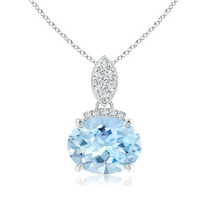 Angara Oval Aquamarine Solitaire Pendant with Diamond r5DCv8