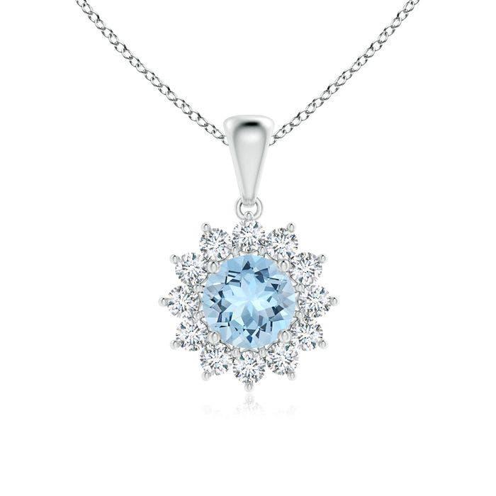 Angara Round Aqumarine Necklace Pendant in Rose Gold 8rweJ