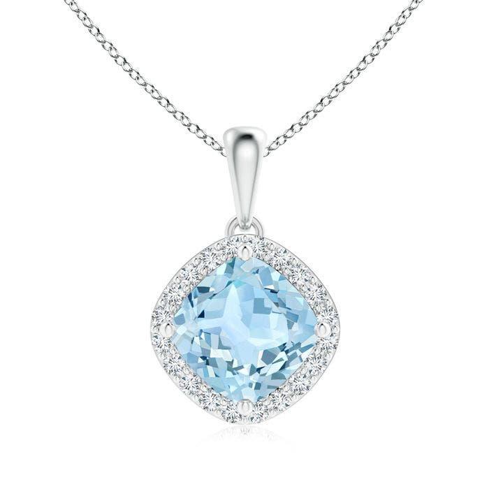 Angara Round Aquamarine and Diamond Halo Pendant Oyj4B