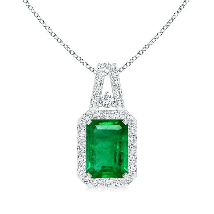 Angara Emerald-Cut Emerald Halo Pendant qkw2G0c