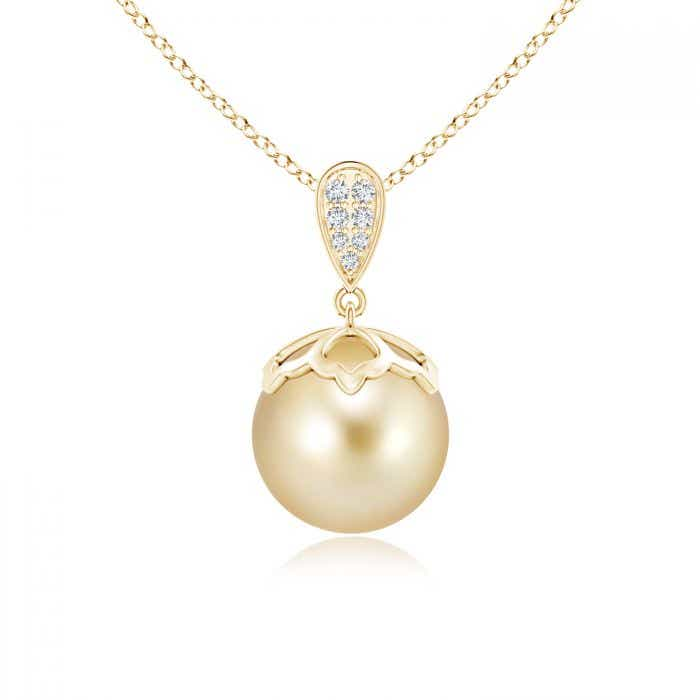 Angara Golden South Sea Cultured Pearl Crescent Pendant ANaML