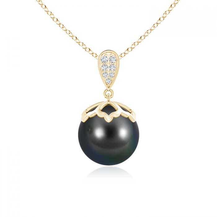 Angara Tahitian Cultured Pearl Pendant with Diamond Cluster; Pearl Pendant & Pearl Necklace fVLX7I9