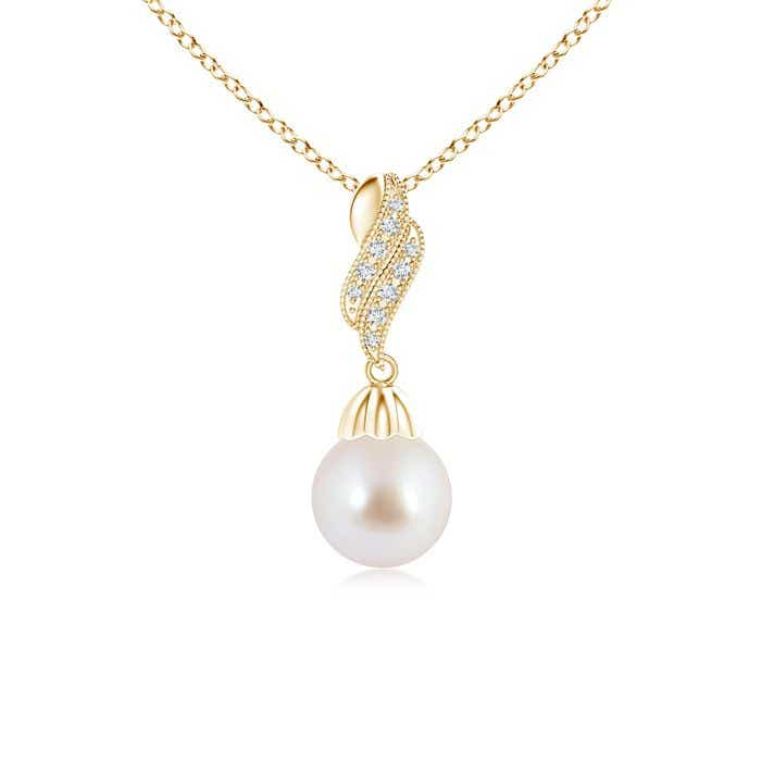 Angara Vintage Inspired Akoya Cultured Pearl Dangle Pendant