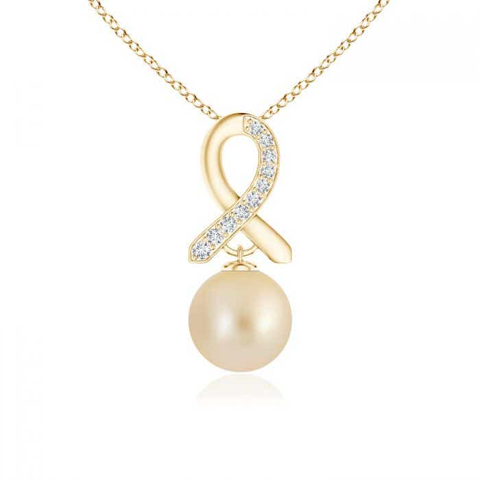 Angara South Sea Cultured Pearl Drop Pendant with Diamond Ribbon yM0Pit