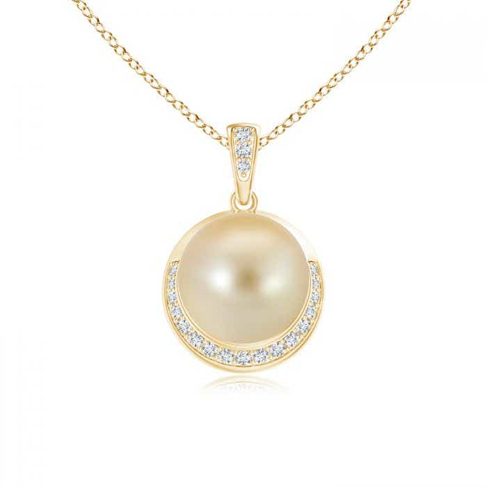 Angara Golden South Sea Cultured Pearl Crescent Pendant WG4j6Meqo8
