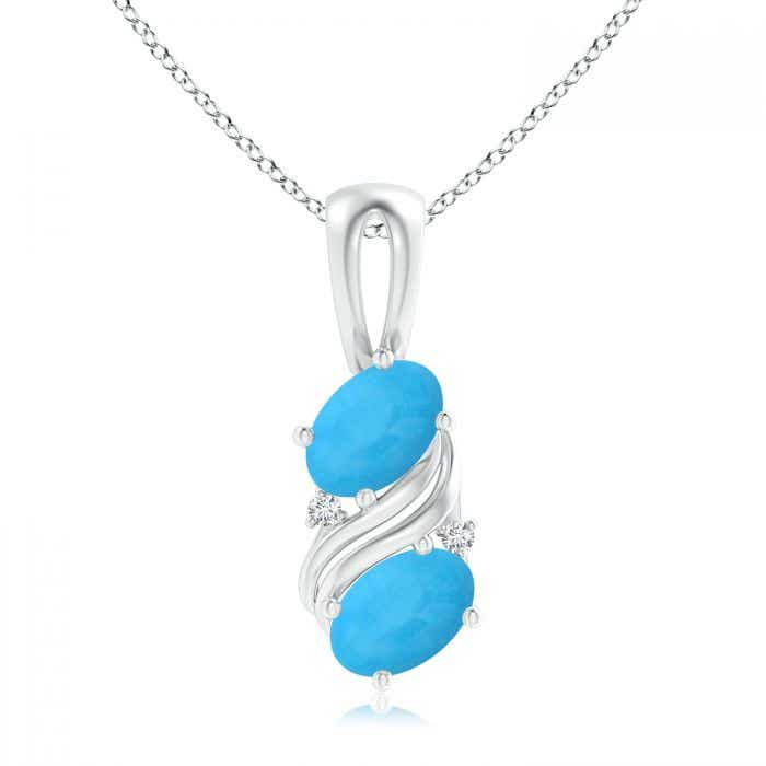Sterling Silver Oval Turquoise Swirl Pendant