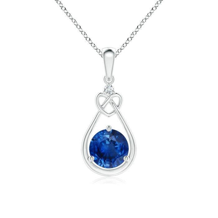 Angara Sapphire Knotted Heart Pendant with Diamond Cximi2