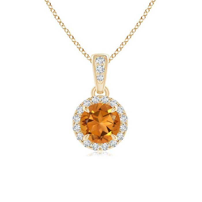 Angara Dangling Round Citrine and Diamond Halo Pendant in 14K Yellow Gold PpHx4YBU2M
