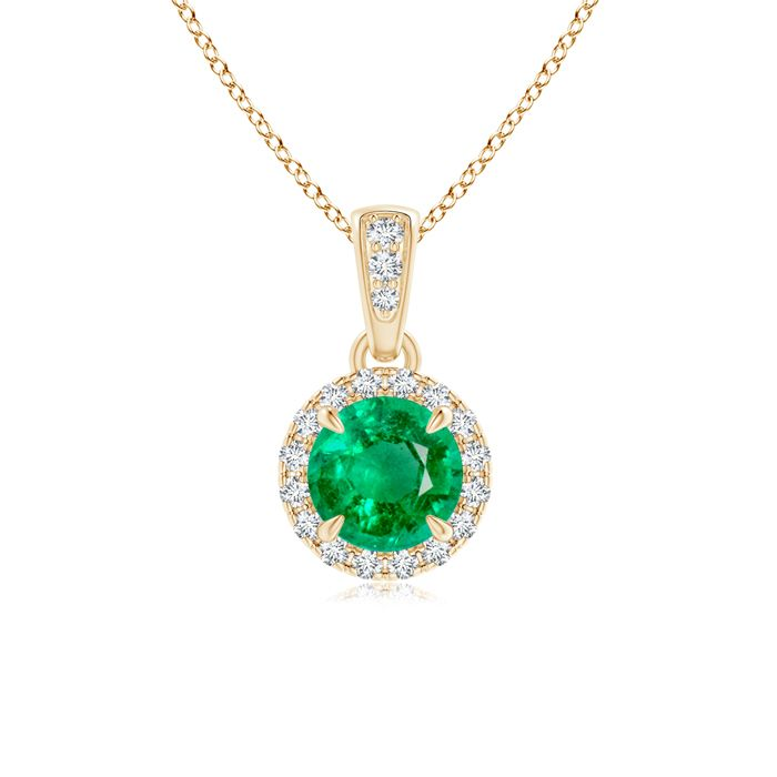 Angara Claw-Set Round Emerald Pendant with Diamond Halo jkMU565OB