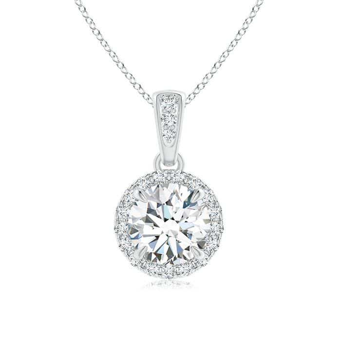 Angara Round Moissanite Necklace in Yellow Gold