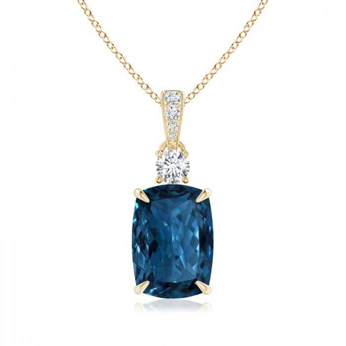 Angara London Blue Topaz Necklace - GIA Certified London Blue Topaz Pendant with Diamond vnuFCl