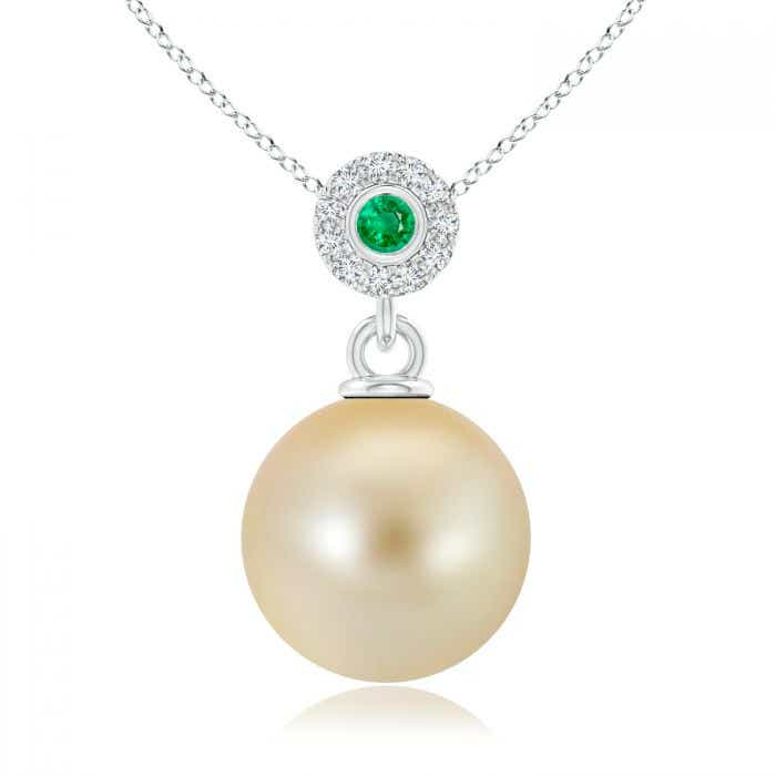 Angara South Sea Cultured Pearl Halo Pendant with Bezel Emerald YNFiBsOc5