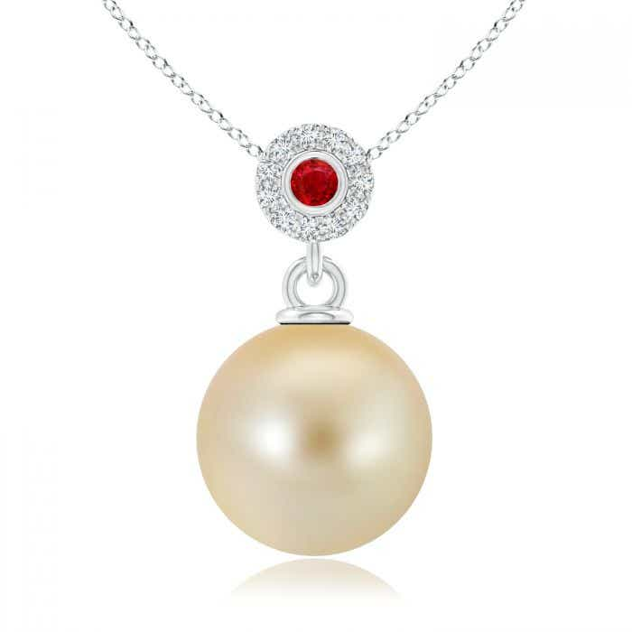 Angara Golden South Sea Cultured Pearl and Diamond Pendant
