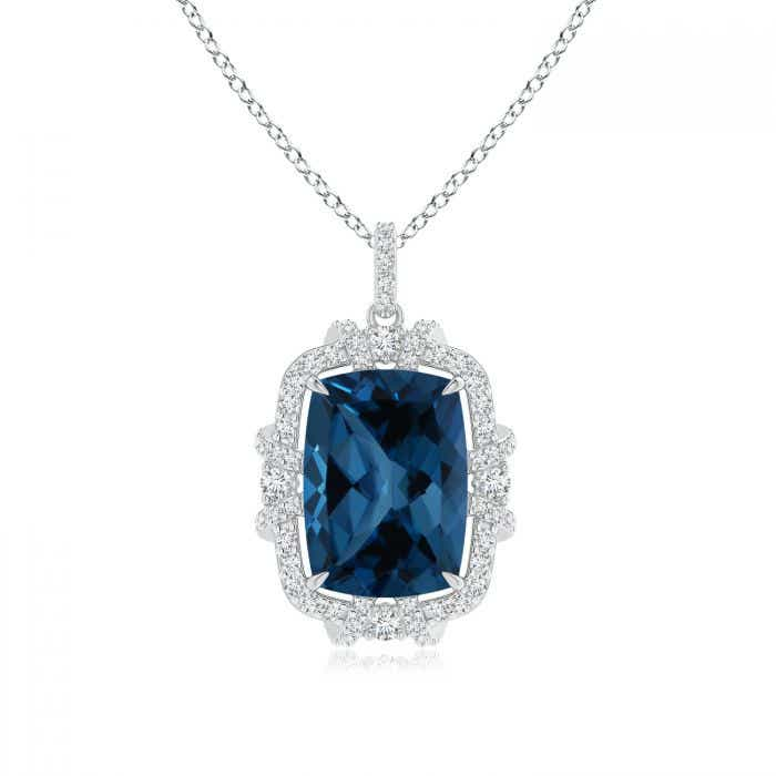 Angara Vintage Inspired Cushion London Blue Topaz Halo Pendant