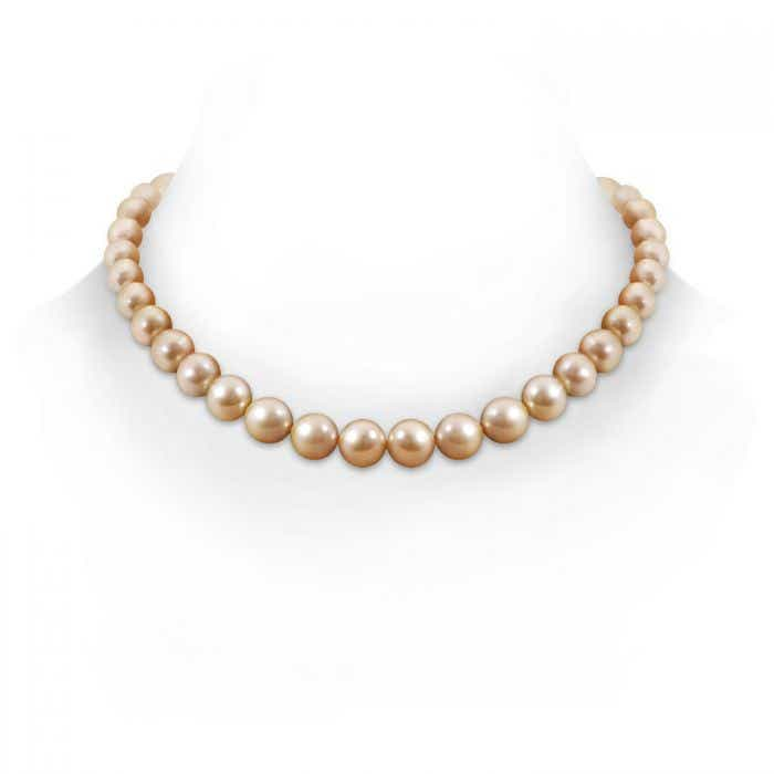 Angara 18 Graduated Golden South Sea Cultured Pearl Necklace Tv8F3