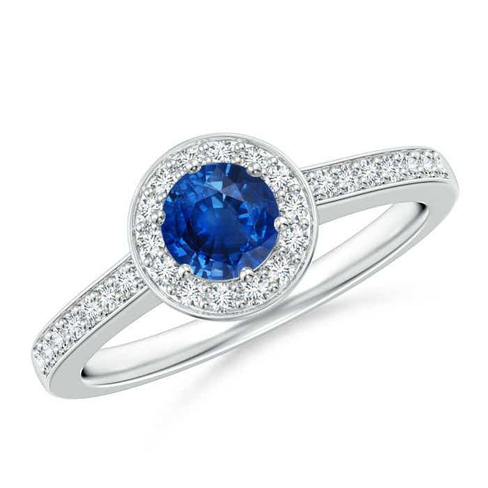 Angara Cushion Blue Sapphire and Diamond Double Halo Ring in White Gold rk5MRfk