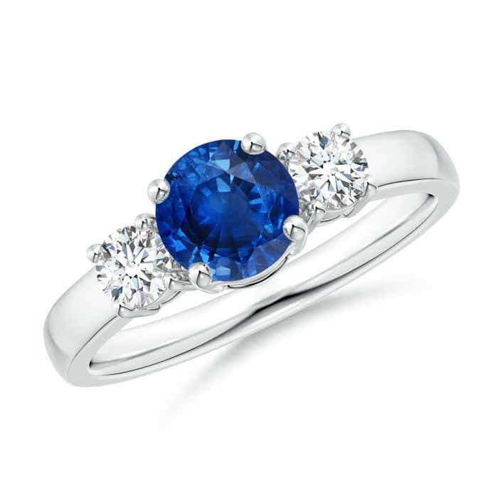Angara Oval Blue Sapphire and Round Diamond Three Stone Ring in Platinum mUi26GR9e