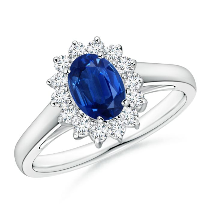 Angara Diamond Halo Blue Sapphire Ring in White Gold