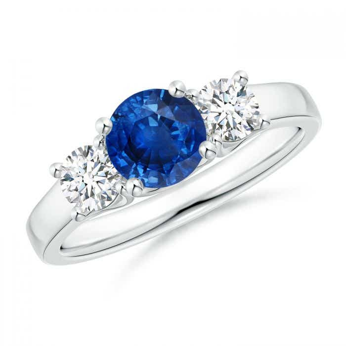Angara Trellis Blue Sapphire and Diamond Three Stone Ring in 14k White Gold cmEBdhLFjv