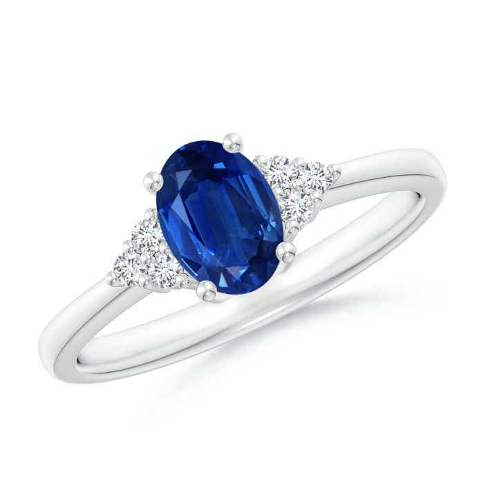 Angara Solitaire Blue Sapphire Promise Ring in 14K White Gold ahkHd6c