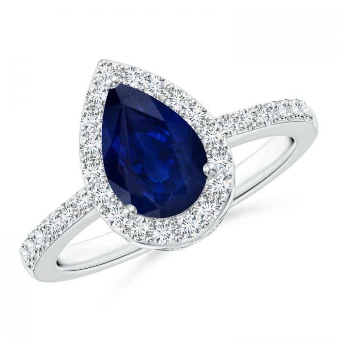 Angara Diamond 3 Stone Ring with Sapphires Side Stone X5U3Tc1