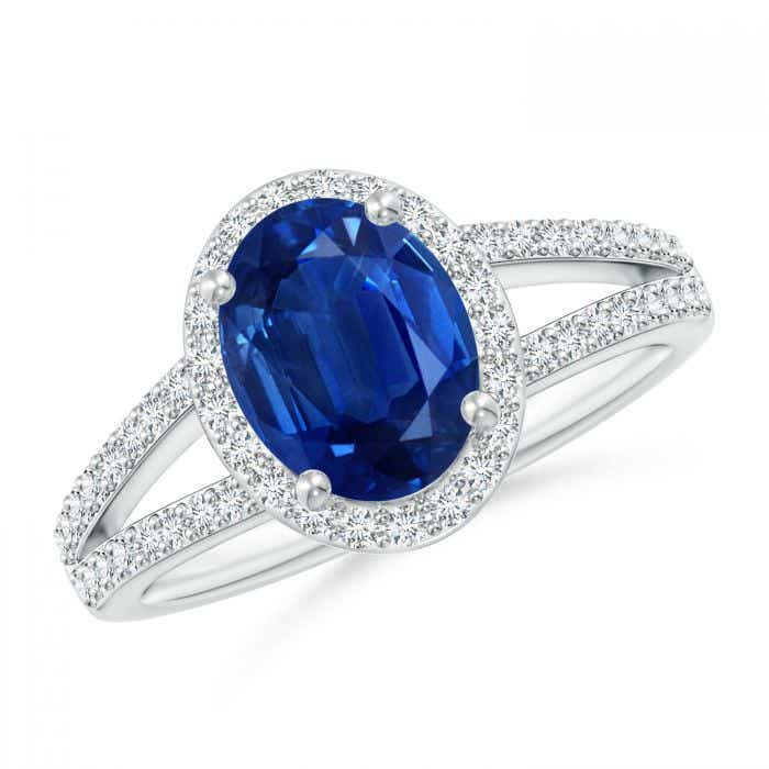 Angara Platinum Oval Blue Sapphire and Round Diamond Split Shank Ring