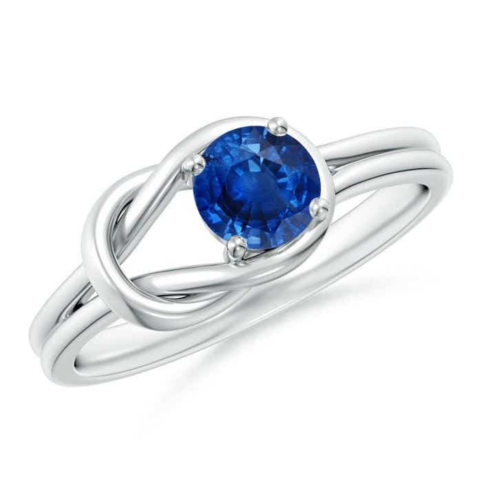 Angara Solitaire Blue Sapphire Infinity Knot Ring in 14k Yellow Gold JUsCuLnZN