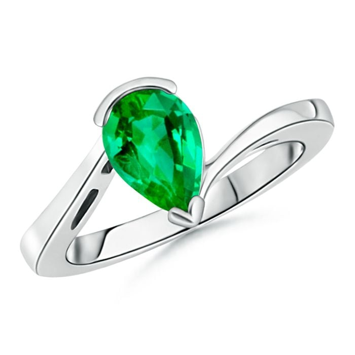 Angara Prong Set Emerald Bypass Ring with Diamond Accents in Platinum PzXWE