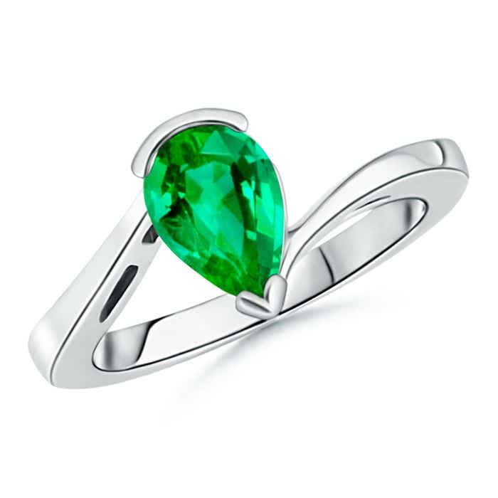 Angara Solitaire Round Emerald Ring in White Gold JVJkVDc