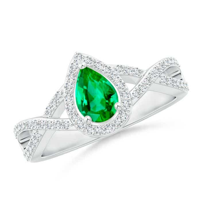 Angara Emerald Cocktail Engagement Ring in White Gold 4qRrJaUw