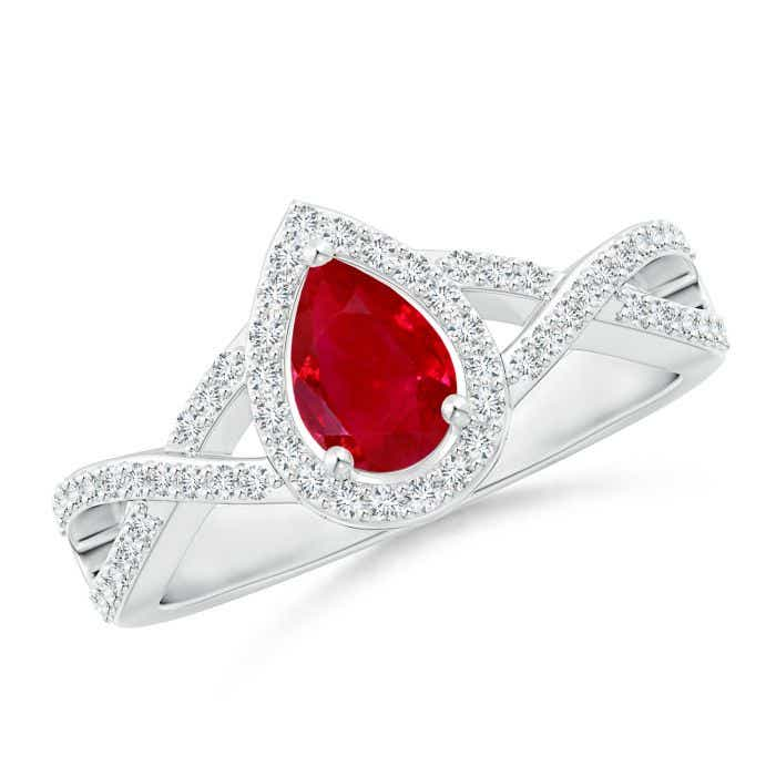 Angara Pear Ruby and Round Diamond Cross Shank Ring in 14k White Gold Q5Uwz