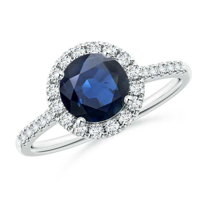 Angara Round Sapphire Halo Ring with Diamond Accents in 14k White Gold ocgXUT