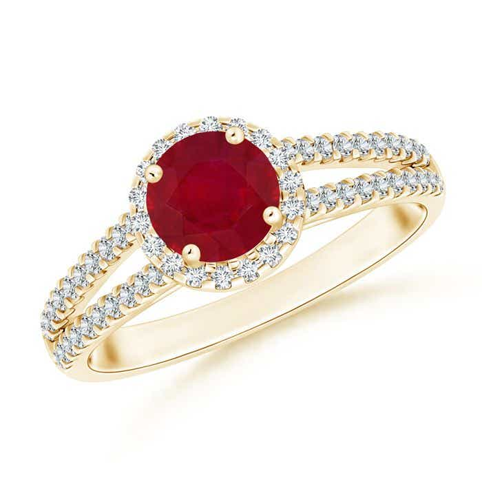 Angara Ruby Halo Ring with Diamond Accents in Yellow Gold K8Q2eBJ8