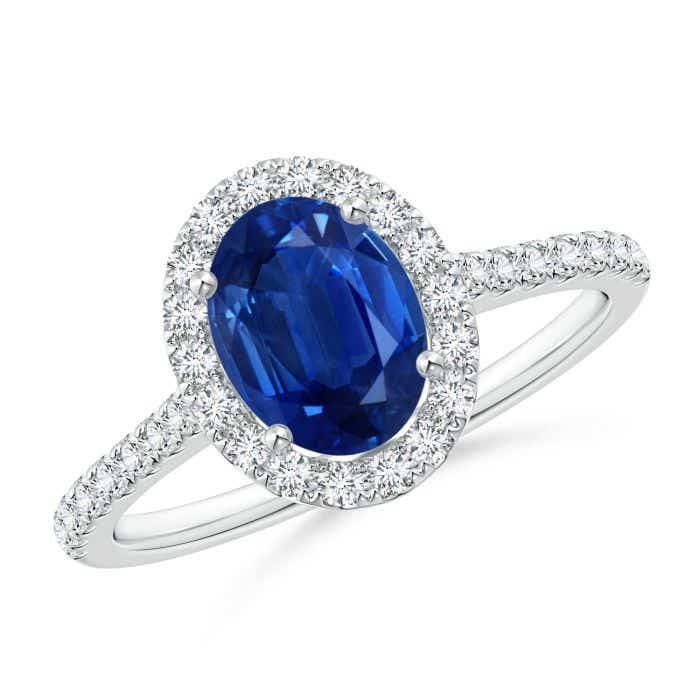 Angara Blue Sapphire Diamond Halo Engagement Ring with Diamond 9uPim3c