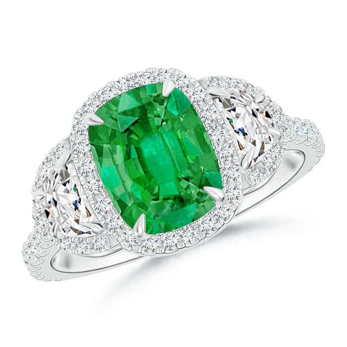 Angara Emerald Diamond Halo Ring in Rose Gold fdjpnto1h