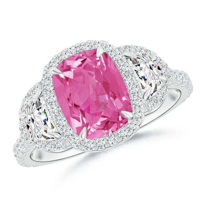 Angara Claw Cushion Pink Tourmaline Solitaire Ring in Rose Gold