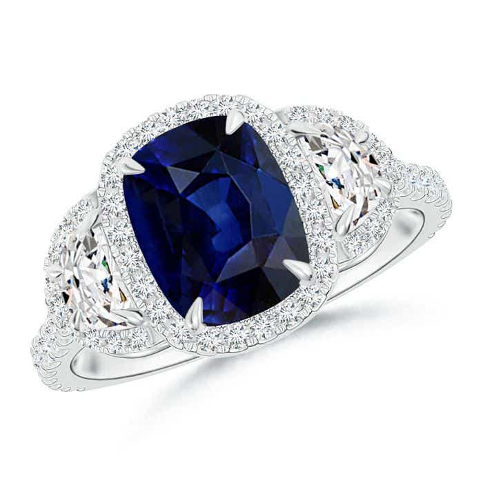 Angara Cushion Sapphire and Diamond Double Halo Ring in White Gold HnmDF