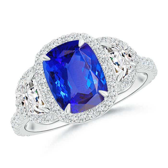 Angara Round Sapphire Halo Ring with Cushion Milgrain Detailing iggBSC5