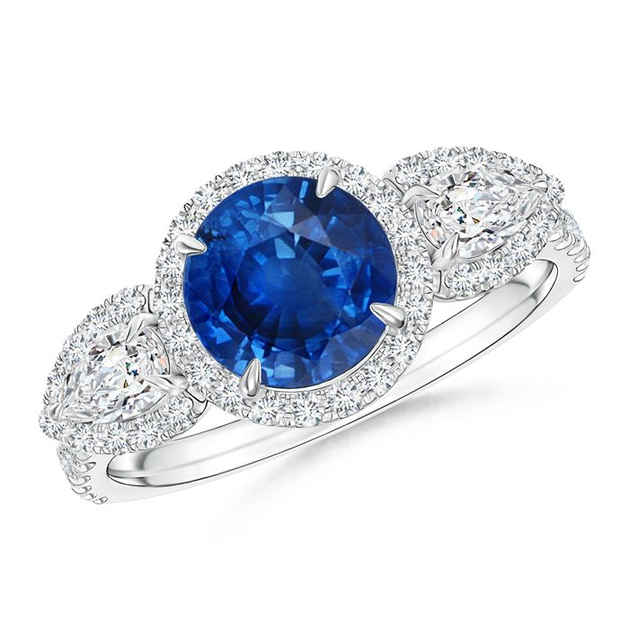Angara Three Stone Sapphire and Diamond Halo Ring in Two Tone