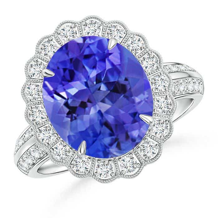 Angara Scalloped Diamond Halo Claw Tanzanite Vintage Ring uCt8UF