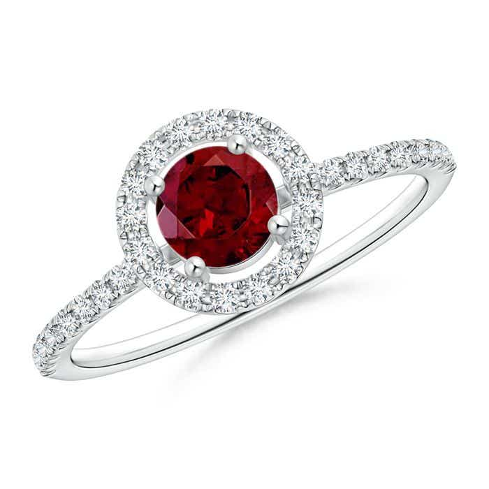 Angara Round Garnet Halo Ring with Diamond Accents y0bF5Z