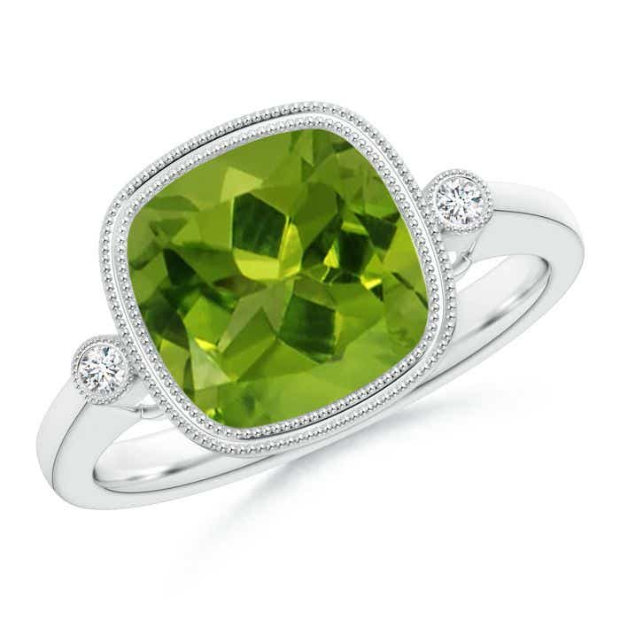 Angara Double Milgrain Outline Cushion Peridot Solitaire Ring in White Gold e8utX