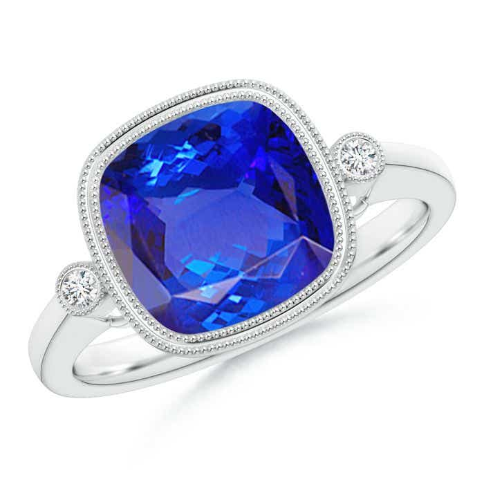 Angara Tanzanite Ring, Cushion Tanzanite Halo Engagement Ring