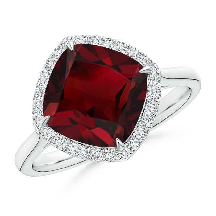 Angara Cushion Garnet and Diamond Ring in Yellow Gold HnAGk